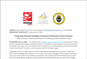 Press Release: Pittsburgh Music Study